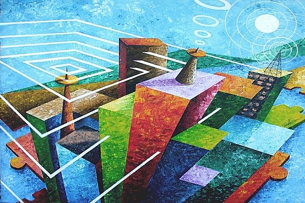 """""""Electro-magneto"""" - olio su tela 80x90 di Sergio Figuccia"""